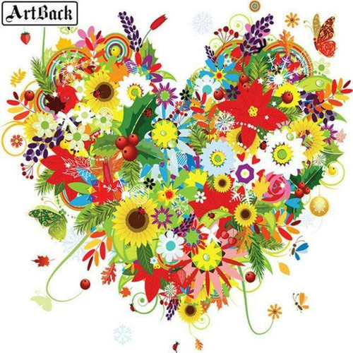 5D Diamond Painting Heart of Flowers and Leaves Kit