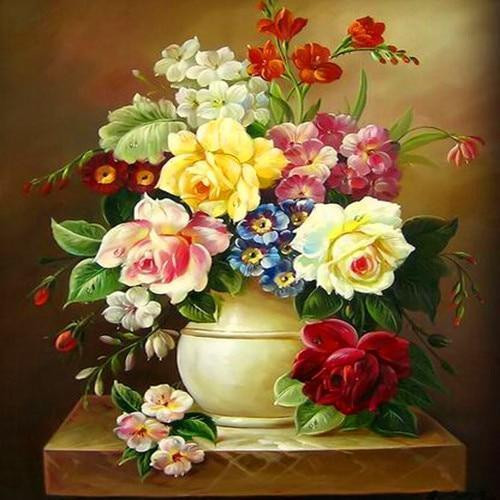 5D Diamond Painting Yellow Vase Rose Bouquet kit