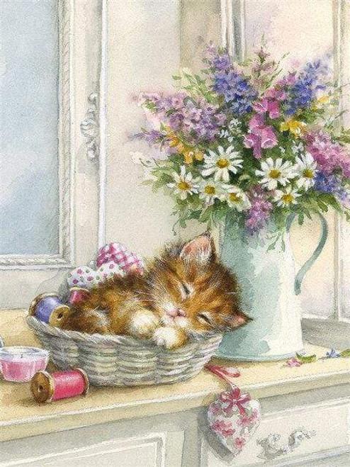 5D Diamond Painting Kitten by a Vase of Flowers Kit