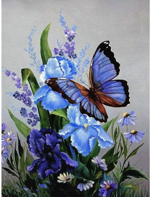 5D Diamond Painting Blue Iris Butterfly Kit