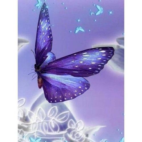 5D Diamond Painting Purple White Flecked Butterfly Kit