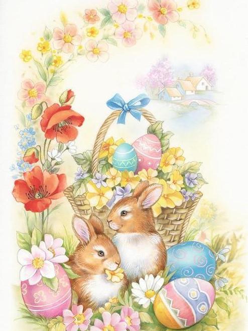 5D Diamond Painting Bunnies, Flowers and Eggs Kit
