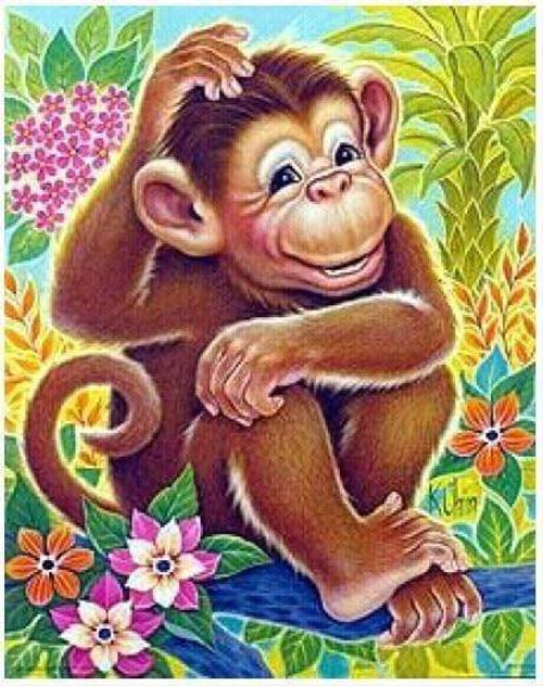 5D Diamond Painting Monkey Scratching his Head Kit