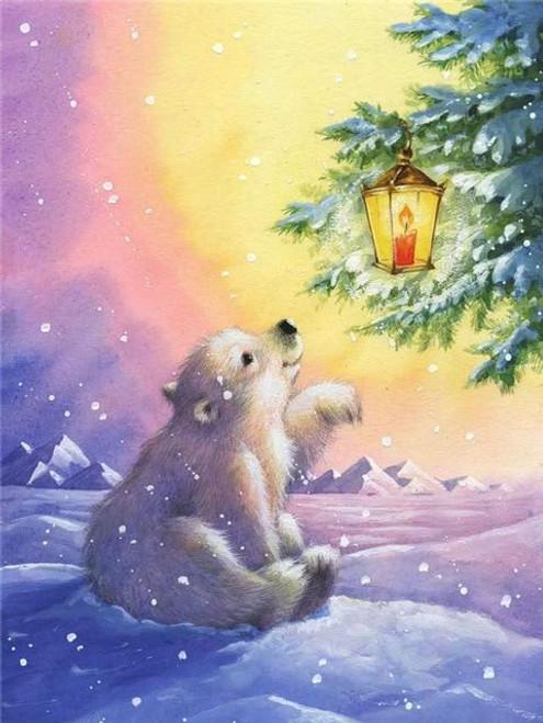 5D Diamond Painting Christmas Lantern Polar Bear Kit