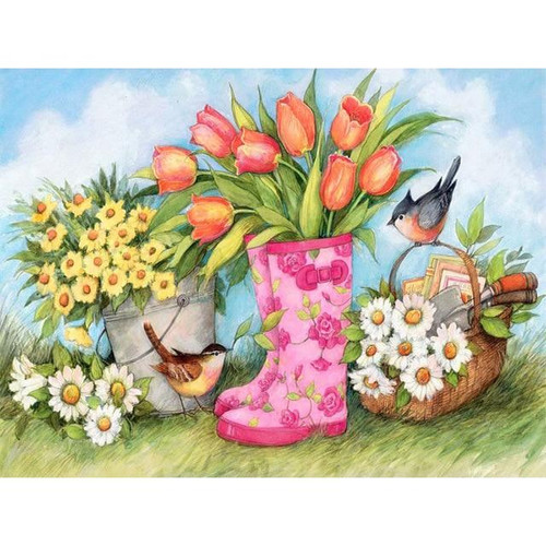 5D Diamond Painting Pink Boot Tulips Kit