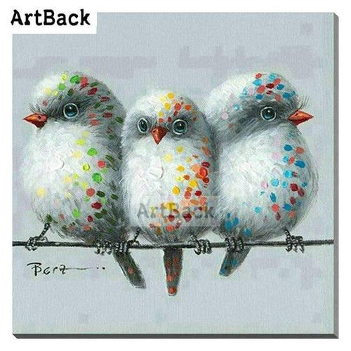 5D Diamond Painting Three Speckled Birds Kit