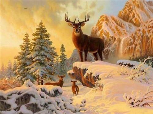 5D Diamond Painting Snowy Mountain Buck Kit