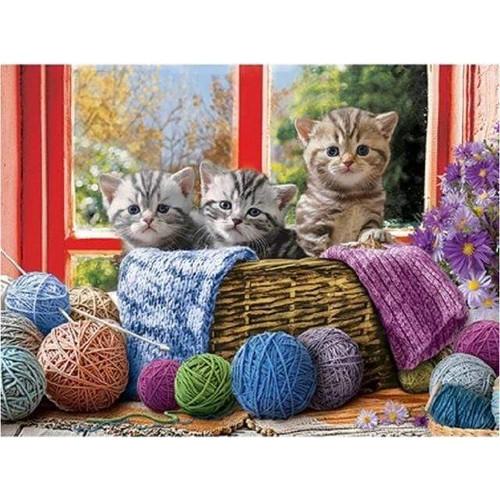 5D Diamond Painting Three Kittens in a Basket Kit