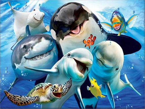 5D Diamond Painting Happy Sea Animals Kit