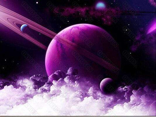 5D Diamond Painting Purple Planet and Clouds Kit