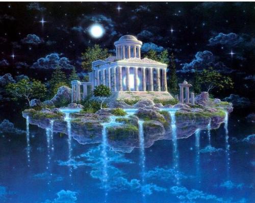 5D Diamond Painting Blue Mount Olympus Kit