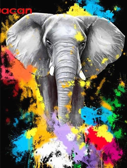5D Diamond Painting Paint Splatter Elephant Kit
