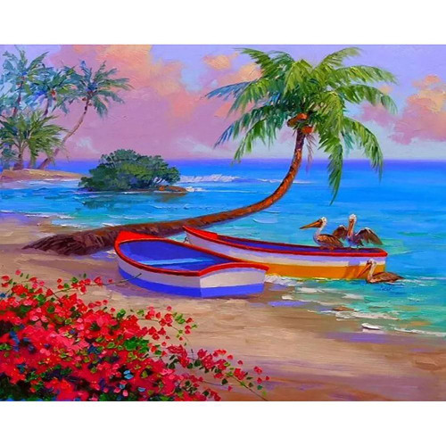 5D Diamond Painting Two Boats on the Beach Kit
