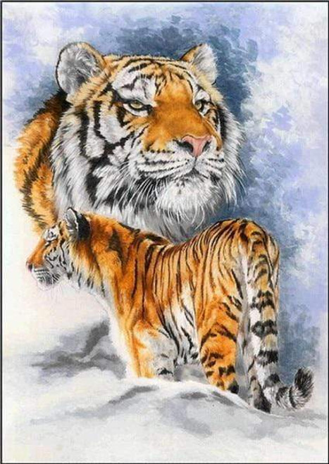 5D Diamond Painting Two Tiger Collage Kit