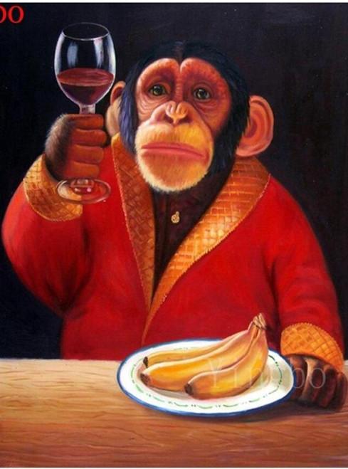 5D Diamond Painting Monkey and Wine Kit