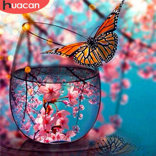 5D Diamond Painting Blossom Butterfly Glass Kit
