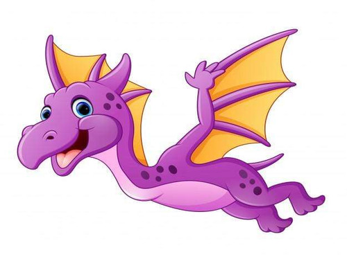 5D Diamond Painting Little Purple Dragon with Yellow Wings Kit