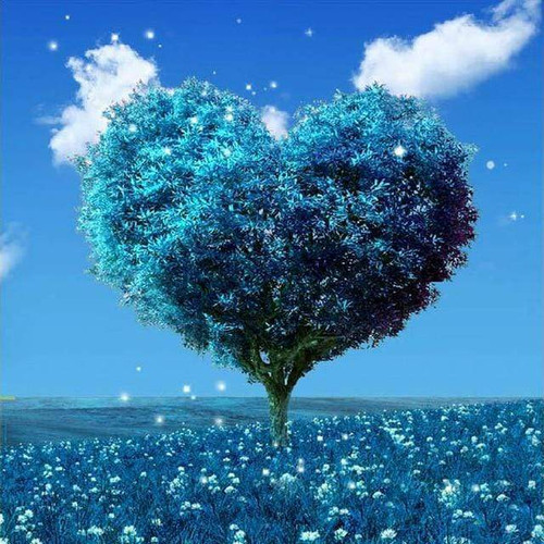 5D Diamond Painting Blue Heart Tree Kit