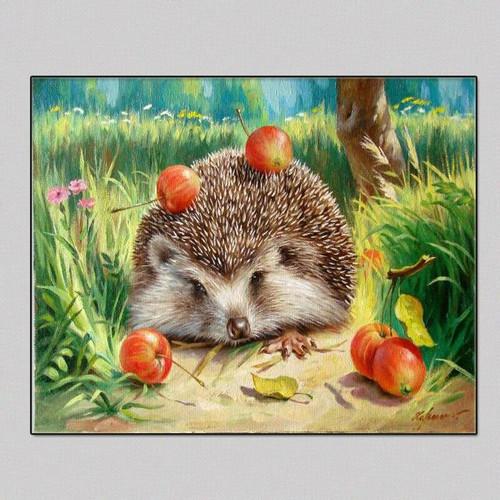 5D Diamond Painting Hedgehog and Apples Kit