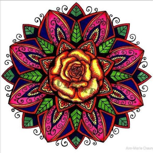 5D Diamond Painting Orange Rose Mandala Kit