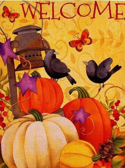 5D Diamond Painting Bird & Pumpkin Welcome Kit