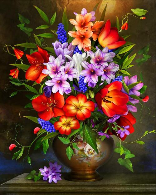 5D Diamond Painting Bright Red and Orange Flower Vase Kit