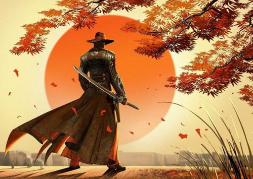 5D Diamond Painting Orange Sun Samurai Kit