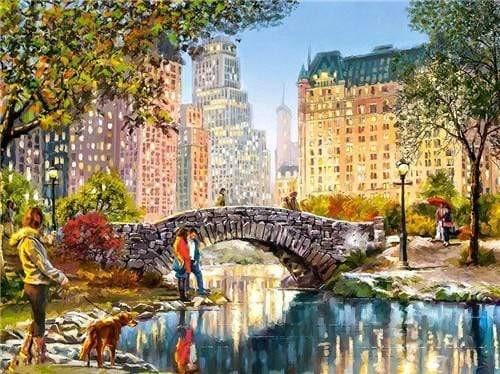 5D Diamond Painting Stone Bridge in Central Park Kit