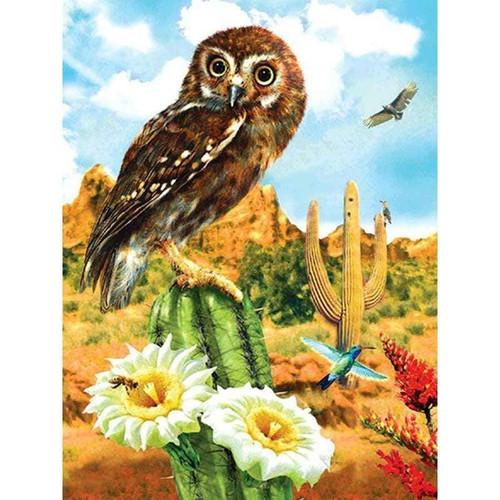 5D Diamond Painting Cactus Owl Kit