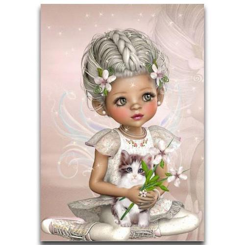 5D Diamond Painting Flower Kitten Fairy Kit