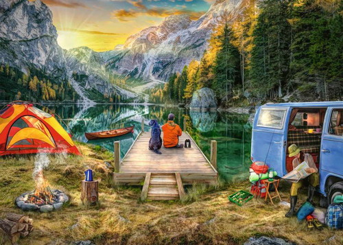 5D Diamond Painting Camping by the Lake Kit