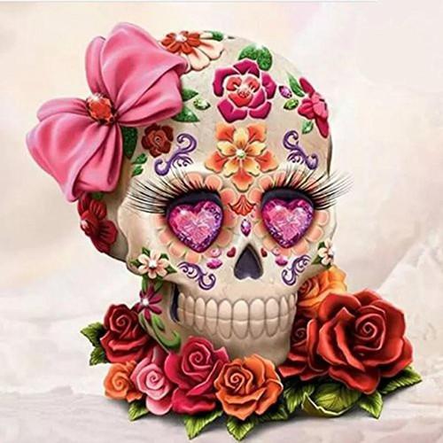 5D Diamond Painting Skull Of Flowers Kit