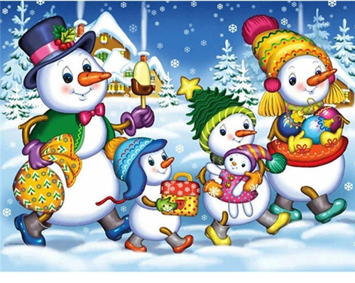 5D Diamond Painting Cute Snowman Family Kit