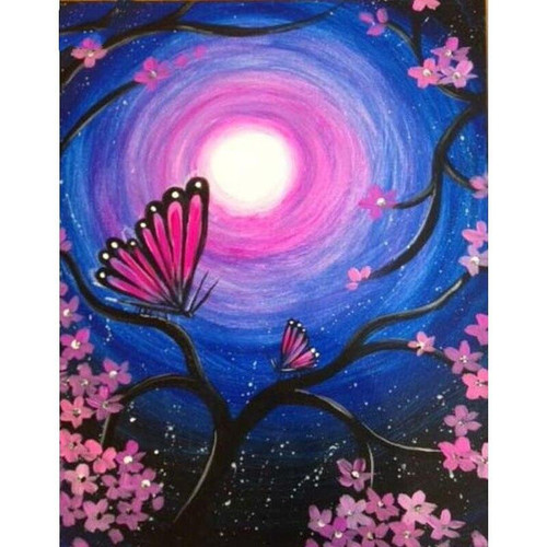 5D Diamond Painting Pink Moon Butterfly Kit