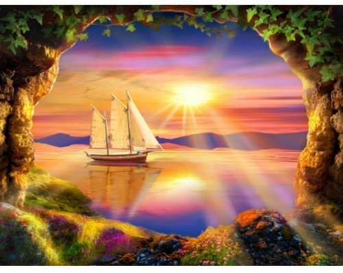 5D Diamond Painting View of a Sailboat at Sunset Kit