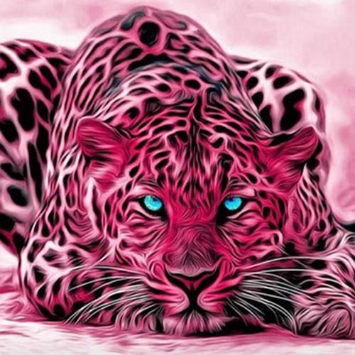 5D Diamond Painting Pink Leopard Kit
