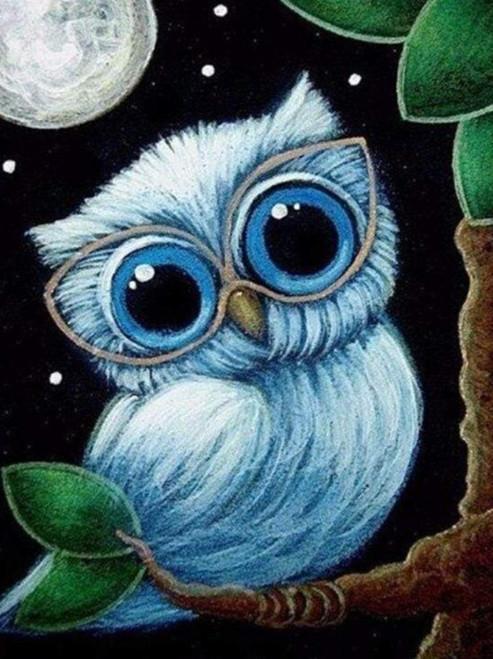 5D Diamond Painting Blue Owl Glasses Kit