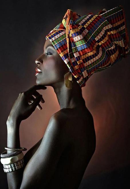 5D Diamond Painting Colorful Head Scarfed Woman Kit