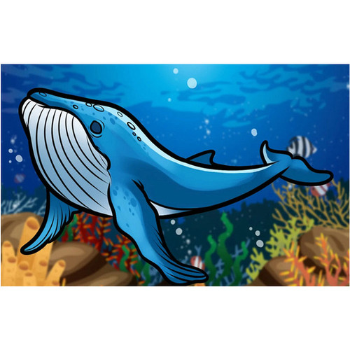 5D Diamond Painting Abstract Blue Whale Kit