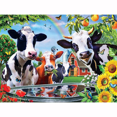5D Diamond Painting Happy Cow Water Trough Kit