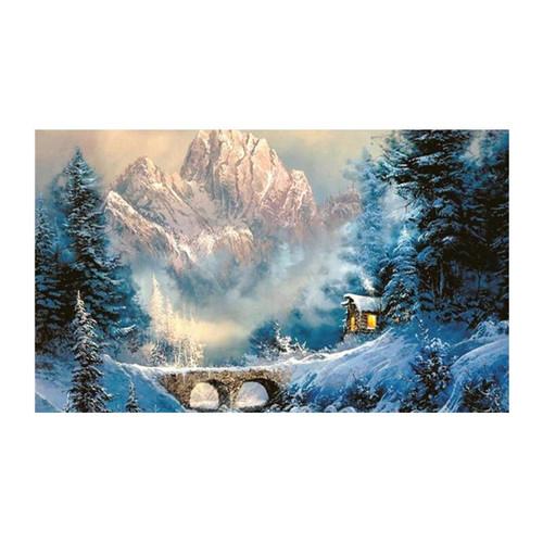 5D Diamond Painting Snowy Cabin Bridge Kit