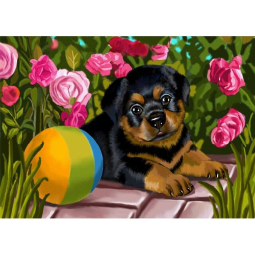 5D Diamond Painting Puppy and Ball Kit