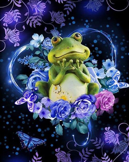 5D Diamond Painting Frog in Flowers Kit