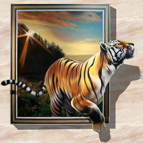 5D Diamond Painting Tiger Frame Escape Kit