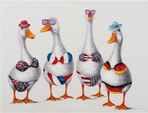 5D Diamond Painting Four Geese in Bikinis Kit