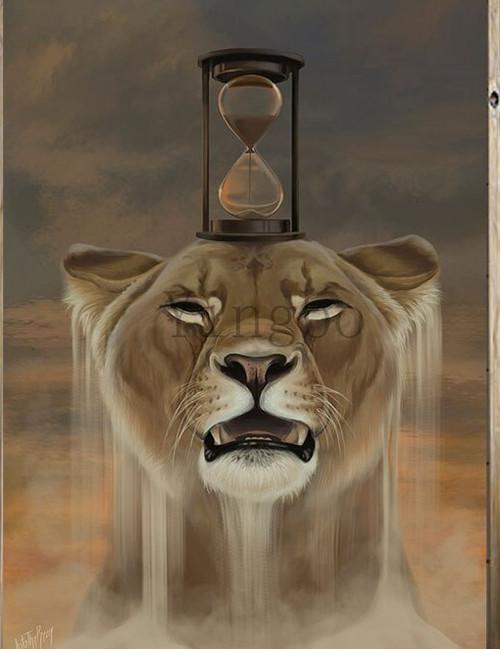 5D Diamond Painting Hour Glass Lion Kit