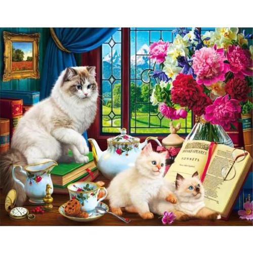 5D Diamond Painting Cat and Two Kittens Kit