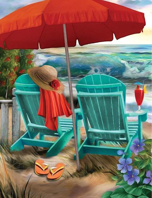 5D Diamond Painting Green Beach Chairs Kit