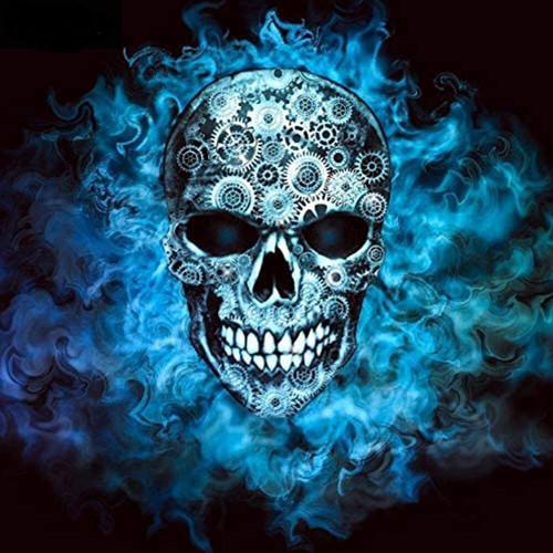 5D Diamond Painting Blue Smoke Skull Kit