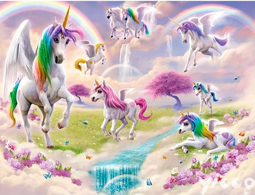 5D Diamond Painting Eight Unicorns Kit